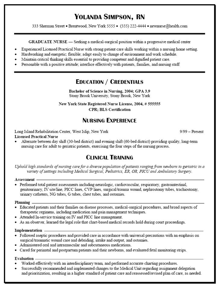 Graduate Nurse Resume Example RN Nursing resume, Rn