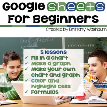 5 lessons for any beginner Google Sheets user. By the end of the 5 lessons students should be able to open a blank Sheets template and create charts, graphs, and use formulas as well as manipulate the column and row sizes.