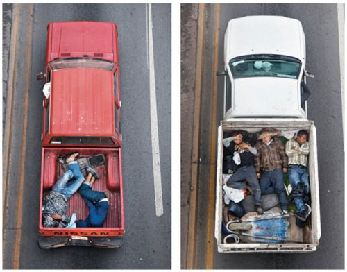 Overhead shots of car poolers, Alejandro Cartagena: Photos, Northern Mexico, Cartagena Photographers, Pickup Trucks, Cars Pooler, Alejandro Cartagena, Sleep Carpool, Trucks Beds, Photographers Alejandro