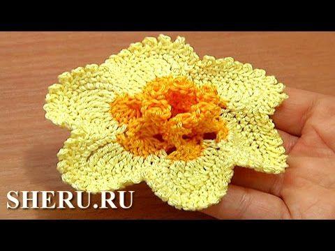 Crochet Narcissus Flower How to Tutorial 65 Part 1 of 2 Crochet 3D Cente...