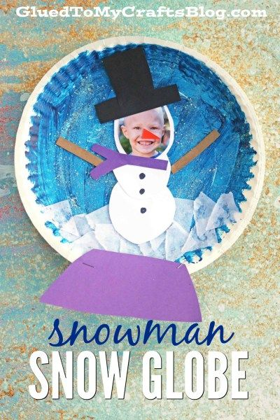 Personalized Paper Plate Snowman Snow Globe - Winter Themed Kid Craft Idea