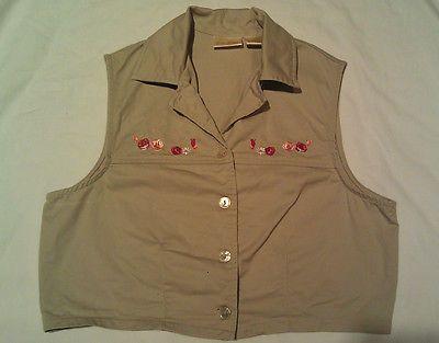 Bobbie Brooks Women Crop Button Vest Ladies Small Beige Floral Embroidered Khaki | eBay
