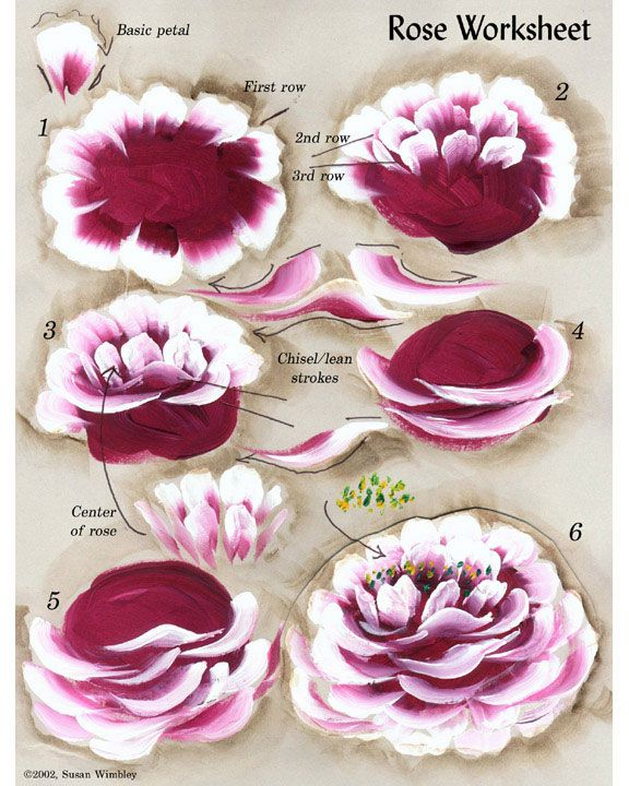 1571 best one stroke images on pinterest for How to paint a rose in watercolor step by step