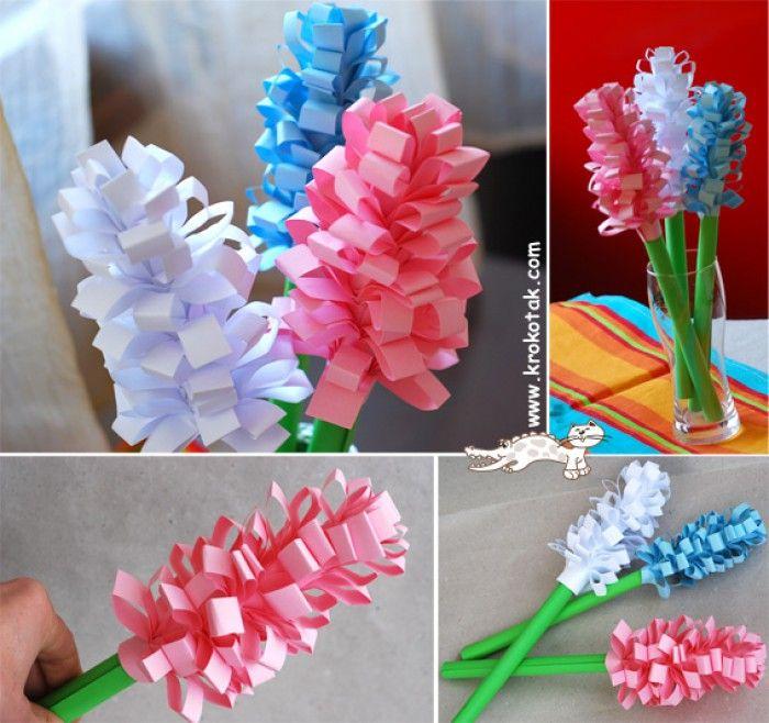 Hyacint van papier http://krokotak.com/2013/02/paper-hyacinths/