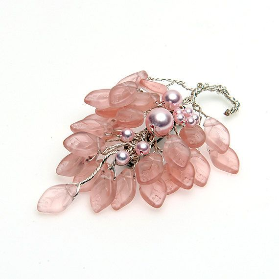 Pink Floral Brooch Pink Bridal Brooch Pink by CherylParrottJewelry