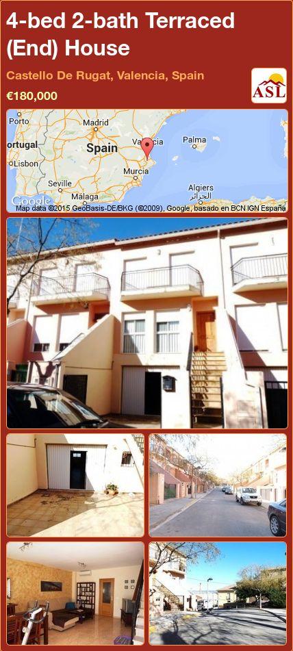 4-bed 2-bath Terraced (End) House in Castello De Rugat, Valencia, Spain ►€180,000 #PropertyForSaleInSpain