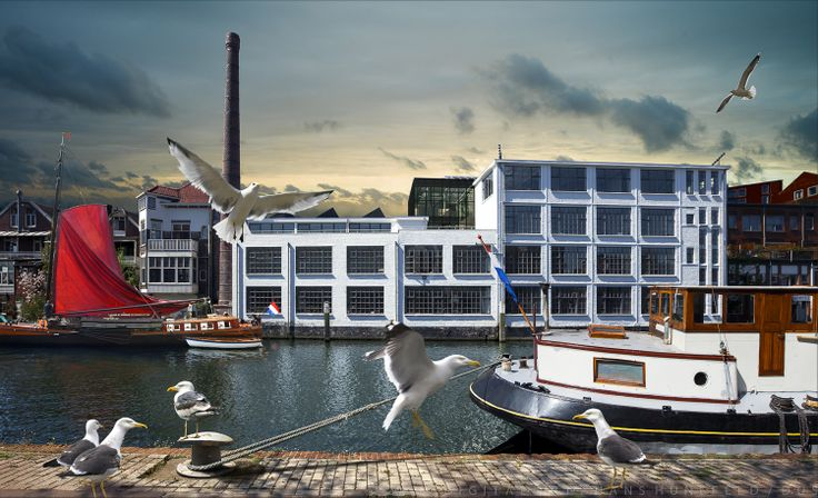 Delfshaven factory (Mei Architects) Rotterdam. Art by digital artist Hans Hunefeld.