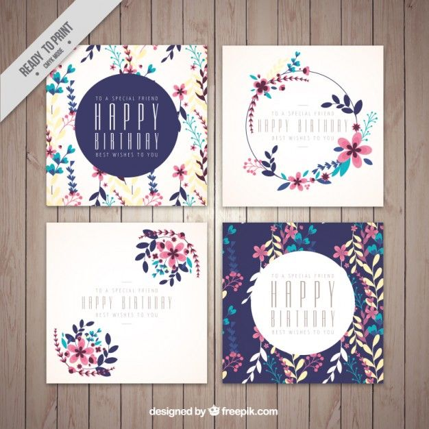 Birthday greeting card, floral theme Free Vector