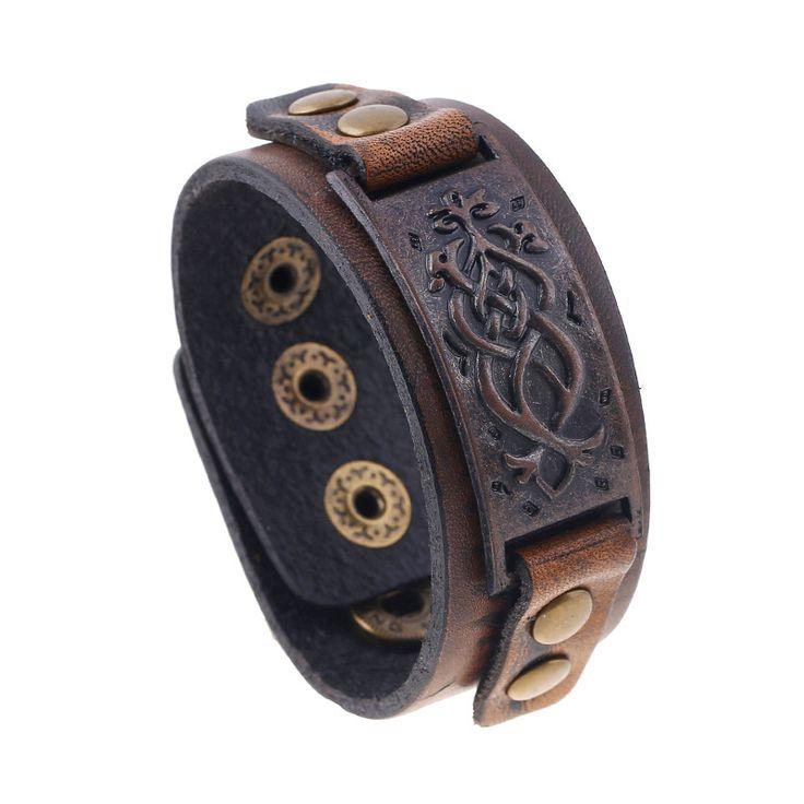 Male Cow Leather Bracelets Biker Jewelry Men's Bracelet Retro Brown Wristband Bangles Man Jewelry Alloy Buckle 22cm Adjustable