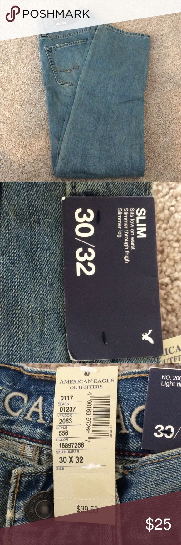 NWT AMERICAN EAGLE MENS SLIM JEAN NWT American Eagle's men jeans in a slim fit  size 30X32 American Eagle Outfitters Jeans Slim