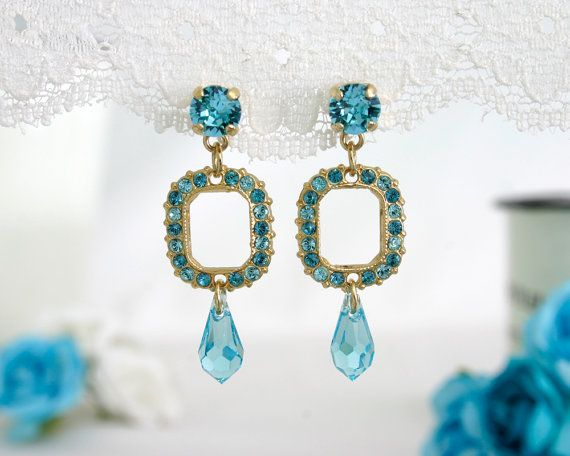 Turquoise dangle earrings blue dangle earrings by AlinYerushalmi
