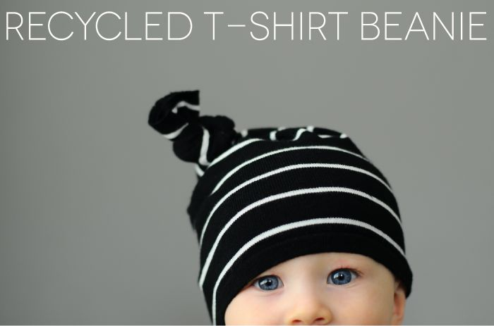 Make a super-cute beanie from an old t-shirt with this easy-peasy tutorial.