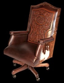 """Cattle Baron Desk ChairShown with Floral Tooling & Hair-on HideW 28.5"""" x D 25"""" x H 46.5-49.5"""""""