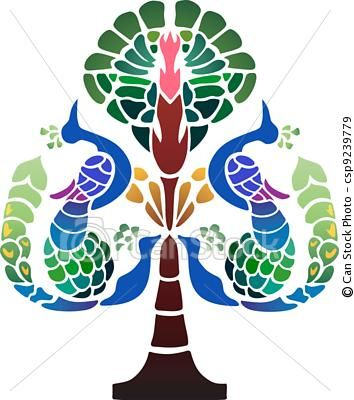 Peacocks and Pomegranates - Traditional Persian symbol of wealth and prosperity, pomegranate tree and four peacocks