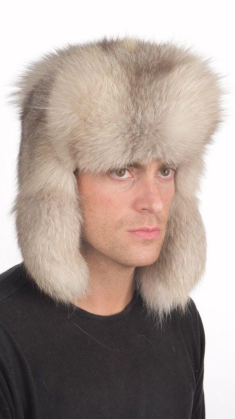 Grey fox fur hat Russian style  www.amifur.co.uk