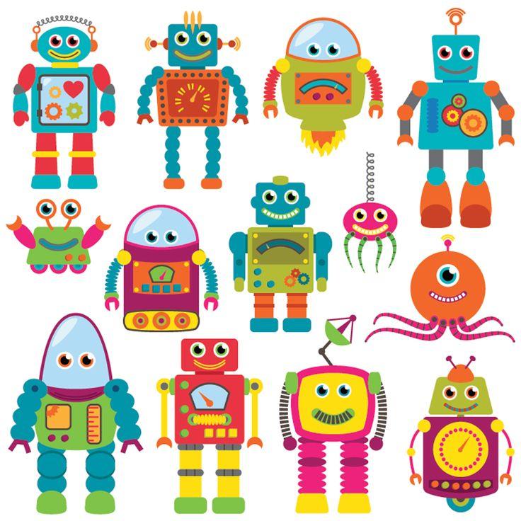 Een vrolijk stickervel met allemaal robots erop. Zo vrolijk je de kinderkamer snel op.