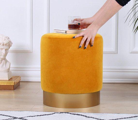 Mustard Colour Velvet Ottoman Pouf Round Ottoman Pouf Elegant Home