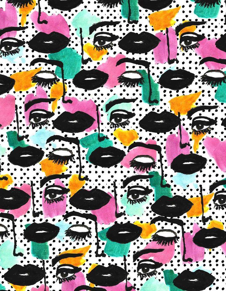 dots, mouth, pop art