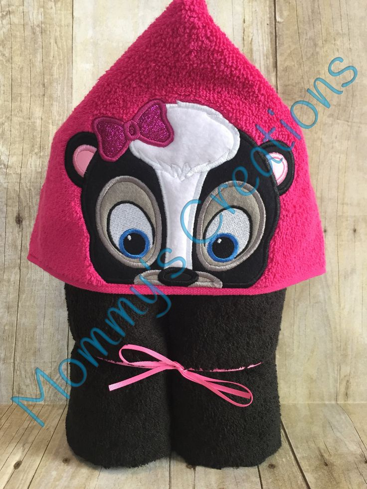 """Girl Skunk Applique Hooded Bath, Beach Towel 30"""" x 54"""" by MommysCraftCreations on Etsy"""