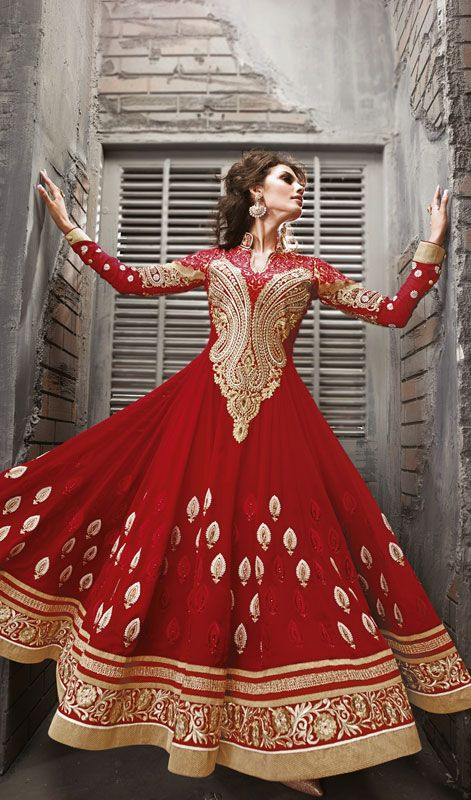 Red Faux Georgette Embroidered Floor Length Anarkali Suit