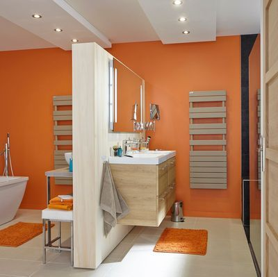302 best images about interieurs orange on pinterest for Salle bain orange