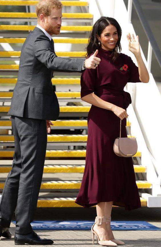 3037734f49174 Royal Tour Day 13: Meghan Wears Black ASOS Maternity Dress - Dress Like A  Duchess
