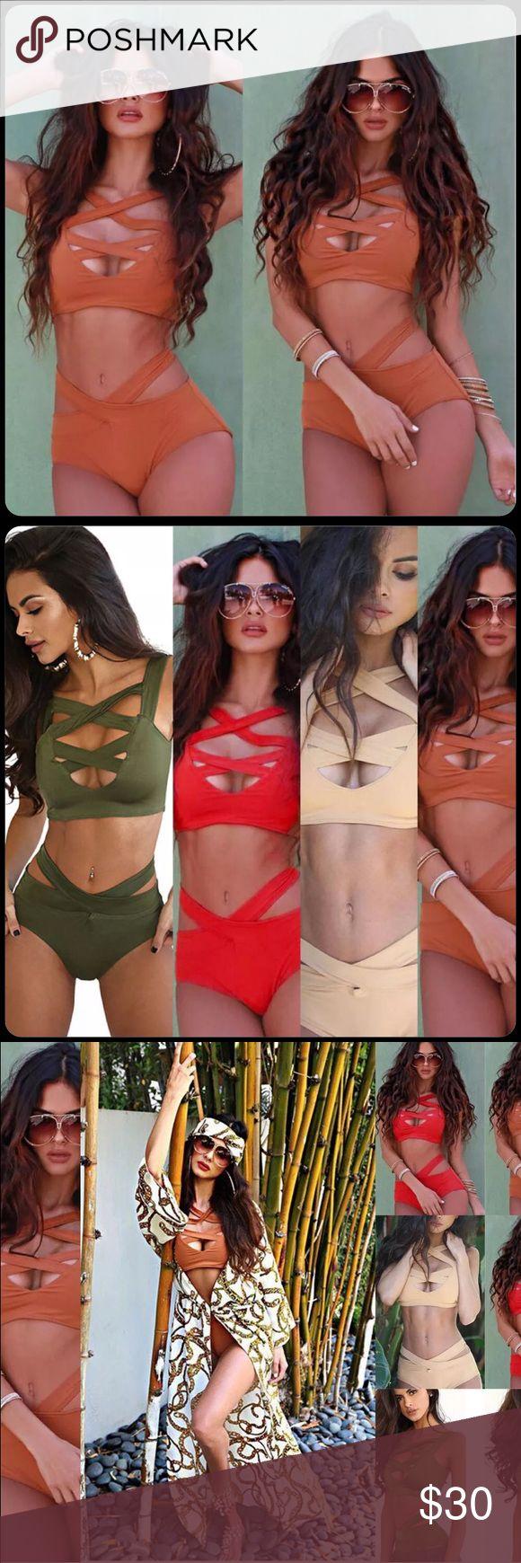 Bandage Rust Orange 2piece Swimsuit Gorgeous summer two piece bikini bandage rust orange color sz small thru xlarge bandage Swim Bikinis