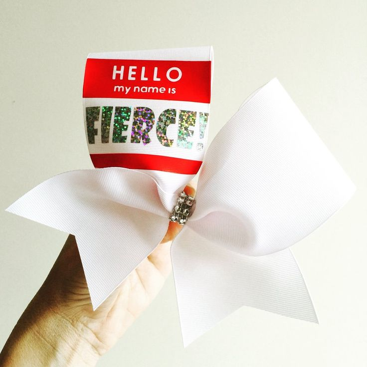 Hello My Name Is FIERCE cheer bow