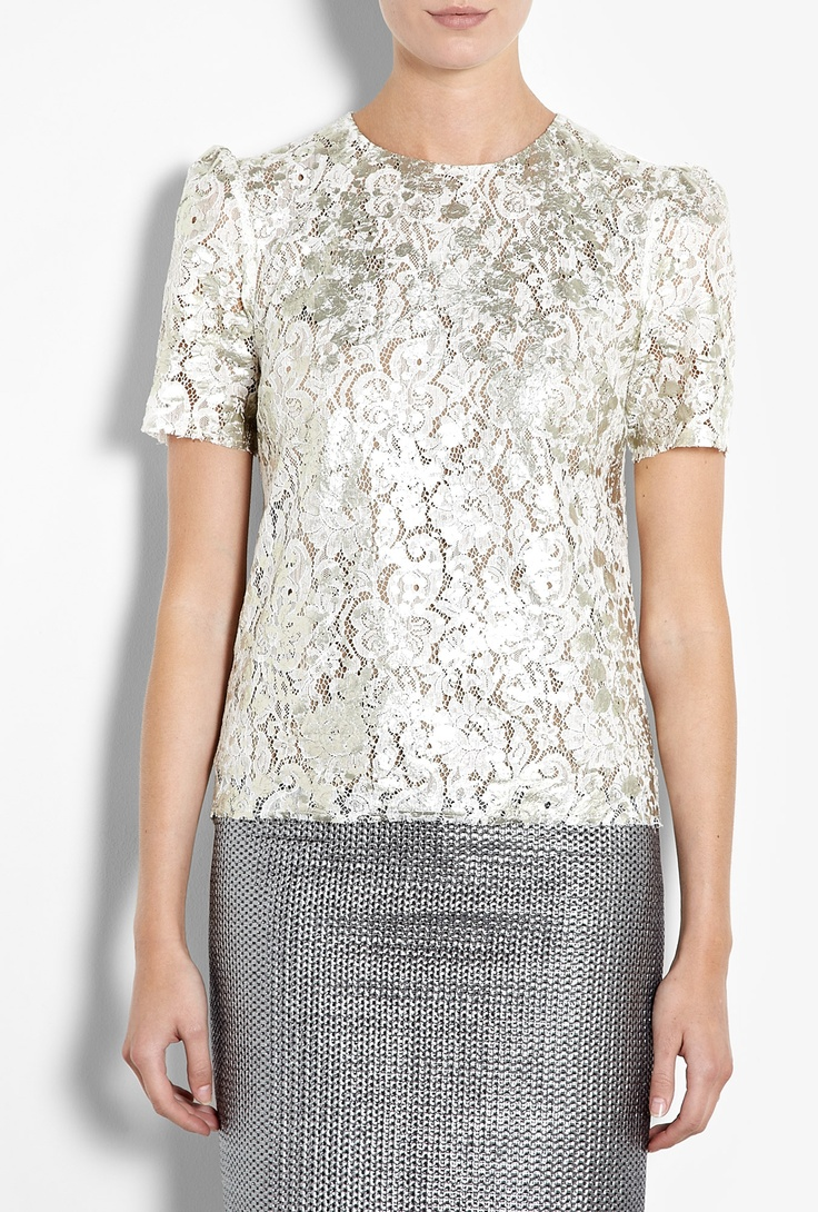 Metallic Lace Short Sleeve Top by MSGM