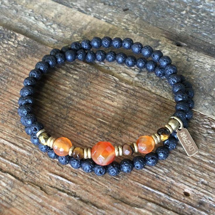 Aromatherapy Lava Stone and Carnelian, Sacral chakra wrap bracelet. #aromatherapy #chakra