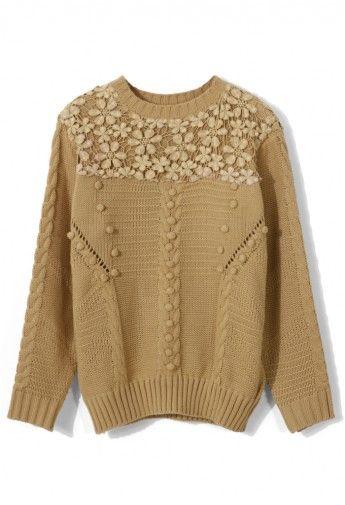Crochet Floral Sweater.