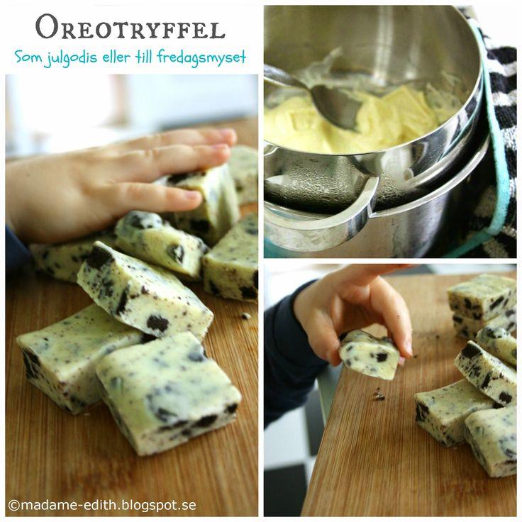 Supergod oreotryffel - Passar som julgodis eller till fredagsmys    Recept  3 st chokladkakor - vit choklad, ca 200 g/st   1 brk kondense...