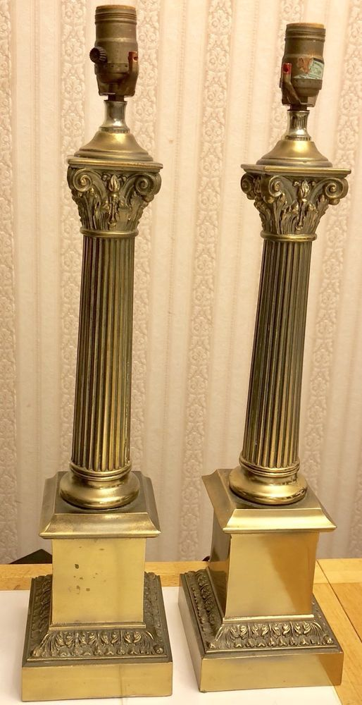 Vintage Pair Of Large Brass Metal Corinthian Column Table Lamps