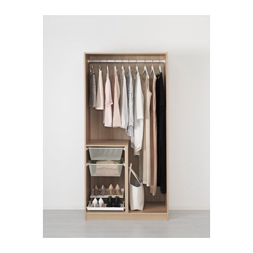 PAX Armoire-penderie, effet chêne blanchi, Nexus plaqué chêne blanchi charnières standard 100x60x201 cm