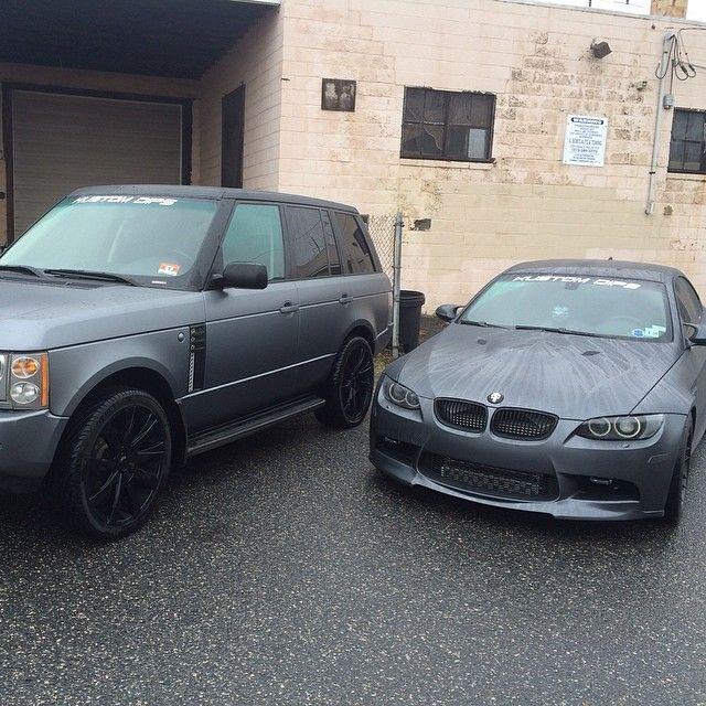 Range Rover and BMW dark grey whole car dip with black dip wheels
