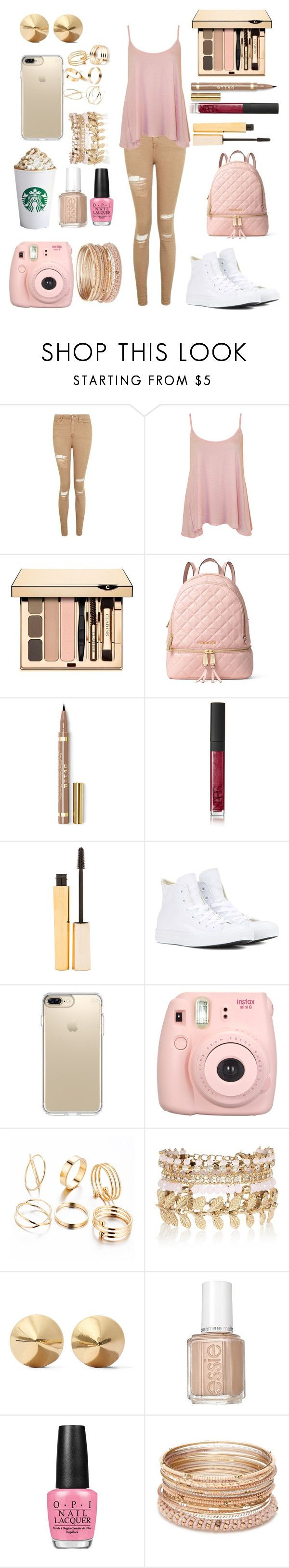 """""""Blush and Gold + anyone want to collab"""" by crystalgems125 ❤ liked on Polyvore featuring Topshop, WearAll, Clarins, MICHAEL Michael Kors, NARS Cosmetics, Stila, Converse, Speck, Fujifilm and River Island"""