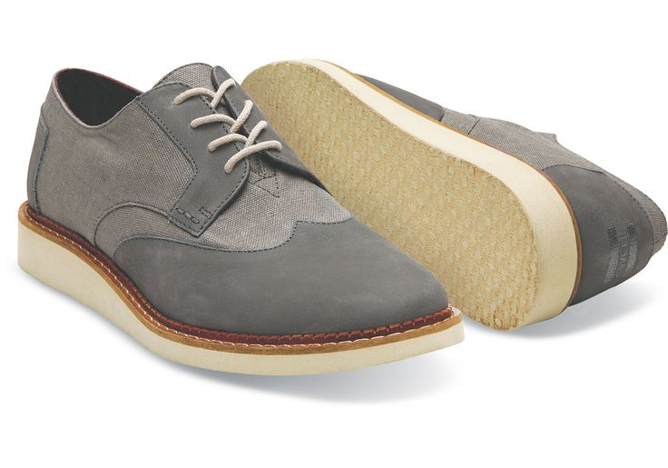 Dark Grey Leather Washed Canvas Men's Brogues | TOMS