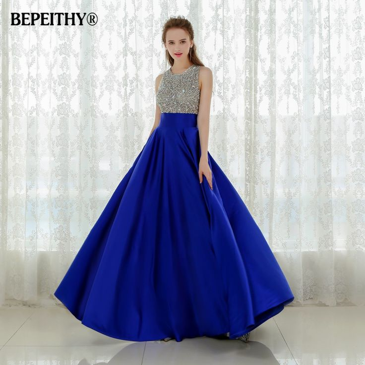 ==> [Free Shipping] Buy Best Vestido Longo Royal Blue Long Evening Dress 2016 Crystal Top Vintage Prom Dresses Robe De Soiree Fast Shipping With Pocket Online with LOWEST Price | 32603376534