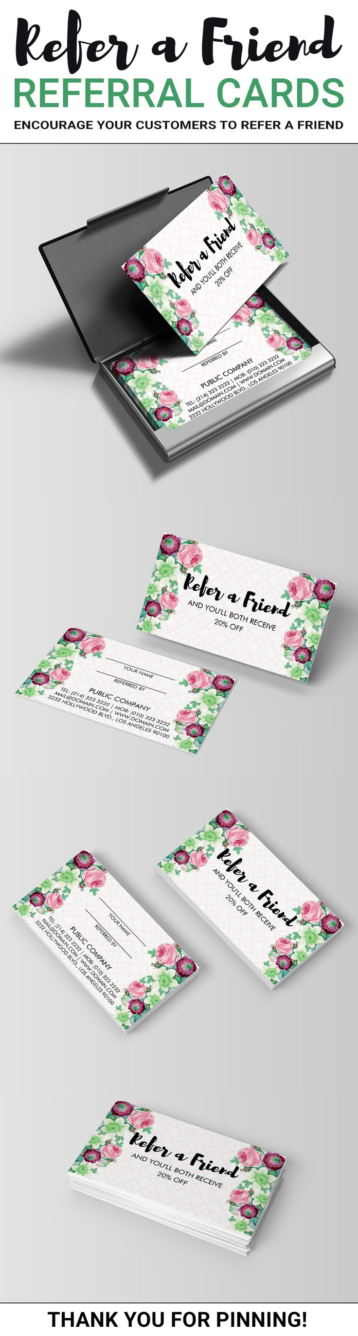 Refer a Friend Referral Cards by J32 Design. Encourage your customers to refer a friend with these beautiful floral referral cards. This customizable template can be personalized with your coupon and business information. Flower themed refer a friend cards come in the standard business card size of 3.5 x 2 inches. Ideal for small businesses who would like to start a referral program for their customers to gain new clients. Floral Flower Referral Cards created by J32 Design.
