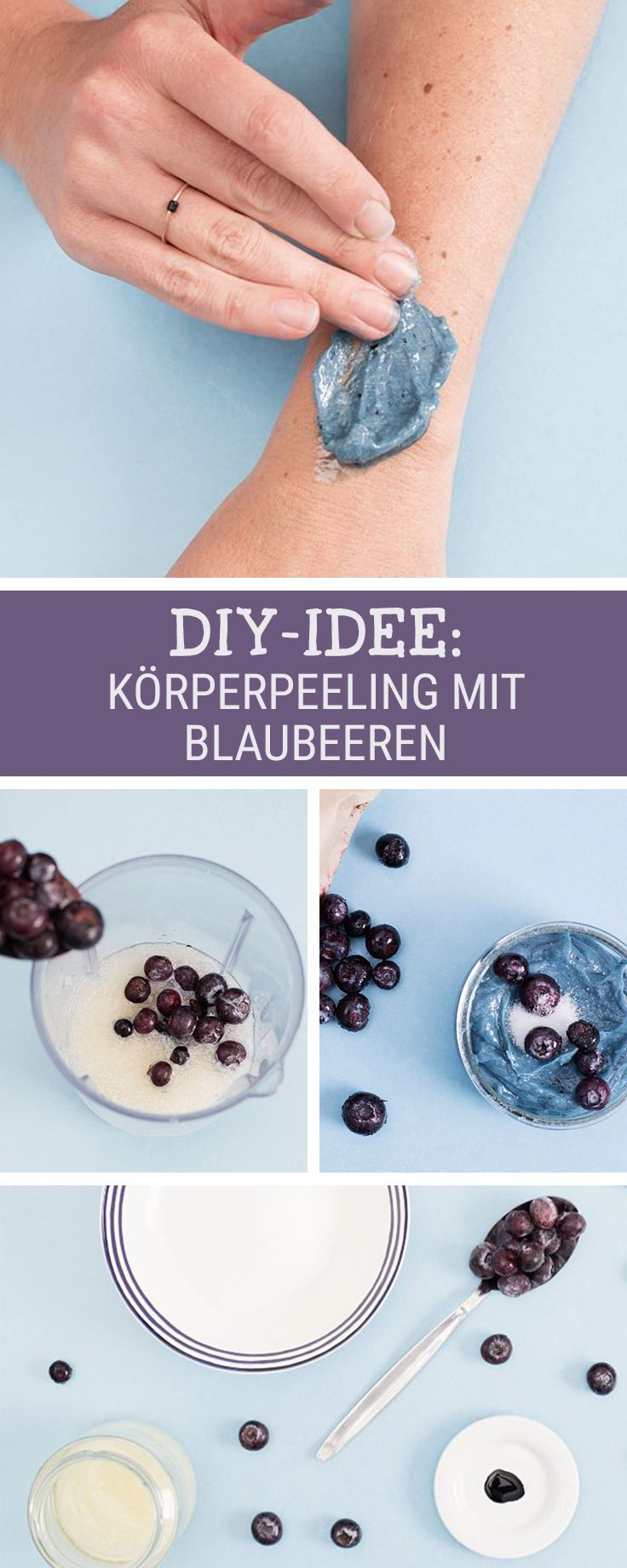 Beauty-DIY: Fruchtiges Peeling aus Blaubeeren für den Körper selbermachen / make a blueberry peeling for a smooth skin via DaWanda.com