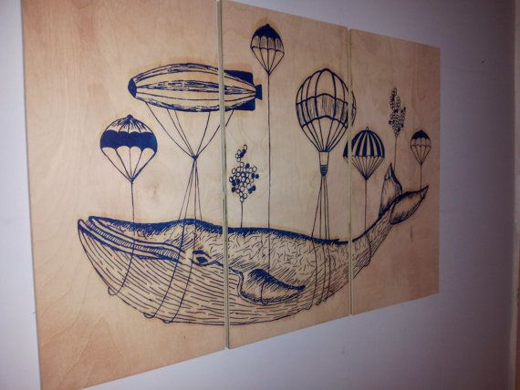 Whale In Flight Wall Art    3 Beautiful  Birch by CedarWorkshop, $119.00