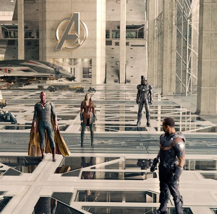 Falcon , Vision , Scarlet Witch , and War Machine in The Avengers : Age of Ultron