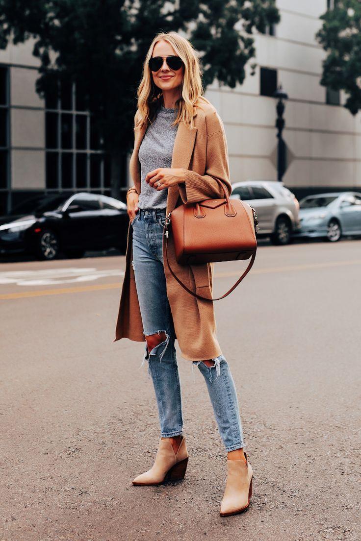Fashion Jackson Wearing Jcrew Camel Coatigan Grey Tshirt Ripped Jeans Tan Suede Booties Givenchy Antigona Cognac Handbag #fallfashion #fallootd