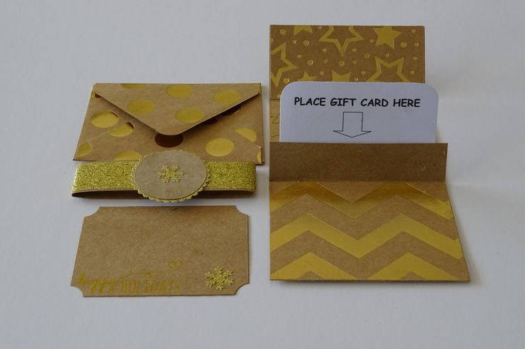 Christmas gift card holder in gold, Xmas money envelopes, Gold gift card holder for christmas with card and envelope handmade kraft paper by prettypapernz on Etsy