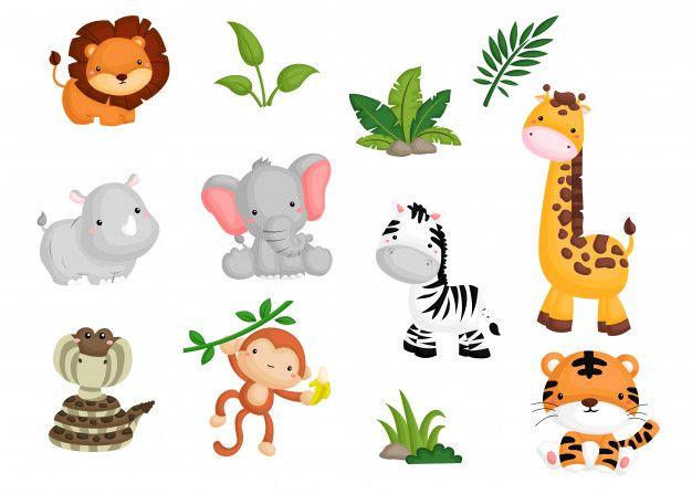 Jungle Animal Image Set Baby Jungle Animals Jungle Animals Animal Clipart Free