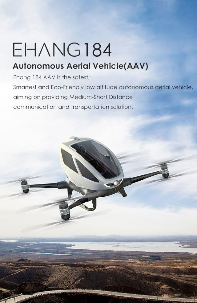 Here it is! The flying car I've long been promised. EHANG 184 autonomous aerial vehicle