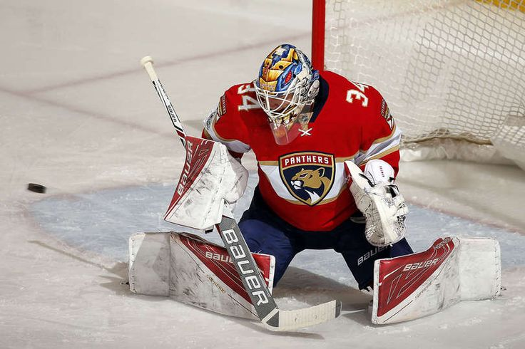 SUNRISE, FL - MARCH 4: Goaltender James Reimer #34 of the Florida Panthers defends the net against the Dallas Stars at the BB&T Center on March 4, 2017 in Sunrise, Florida. (Photo by Eliot J. Schechter/NHLI via Getty Images)