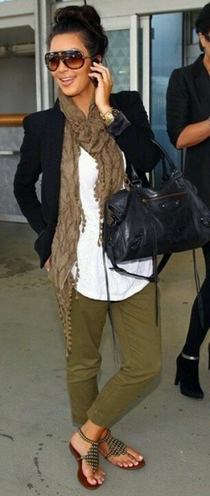 casual and fabulous. I love the color of army green against olive/tan skin