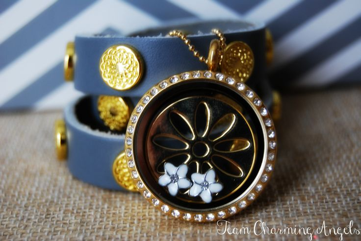 Grey and Gold Signature South Hill Designs Wrap, Large Gold Locket with Crystals, Sunflower screen and Plumeria flowers. http://www.southhilldesigns.com/acharmedlife