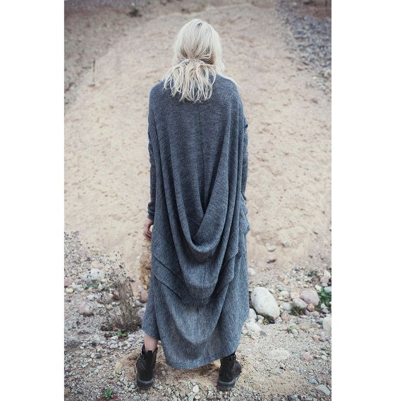 Long dark grey dress with massive back detail and folds, autumn winter dress